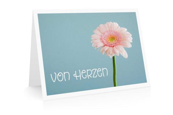 Grußkarte Von Herzen mit Blume
